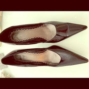 Black patent leather heel
